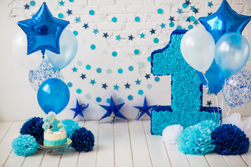 The decor of the first birthday