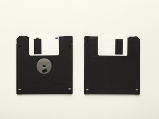 Retro floppy disks isolated on white background