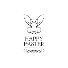 Easter rabbit, easter Bunny. Happy Easter lettering. Vector illustration.