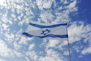 Flag of State of Israel, white-blue with Star of David, Magen David