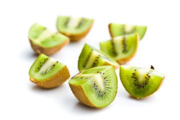 Halved kiwi fruit.