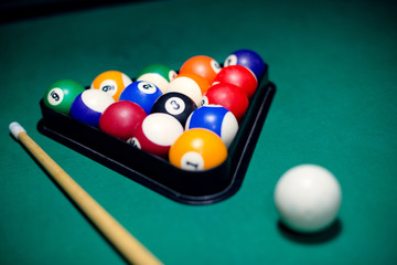 Pool balls and stick