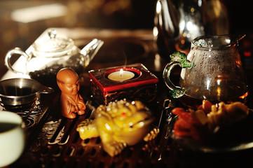 A tea figure close-up - a boy who pisses.Pissing boy.tea ceremony