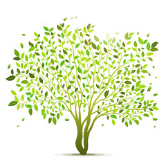 Green tree with leaves vector background