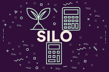 Conceptual business illustration with the words silo