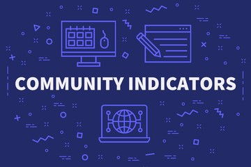 Conceptual business illustration with the words community indicators