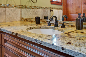 Master bathroom interior with close up of bathroom vanity