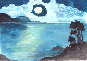 Figure gouache. Mountain lake on a moonlit night.