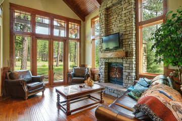 Foto op Canvas Illustratie Parijs Stunning living room design with a stone wall fireplace