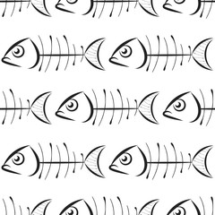 Fish bone vector pattern on white background