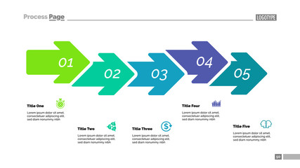 Five Steps Arrow Chart Slide Template
