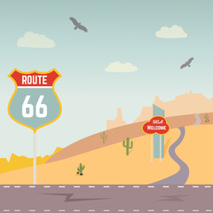 Vector illustration of USA Route 66 and landscape.