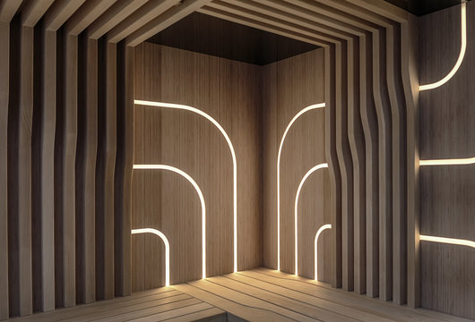 Modern, wooden sauna with a LED lighting panels