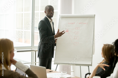 53f94dfc63c2 Confident african speaker gives presentation to multiracial sales team with  flipchart