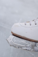 Close up image of a figure skate