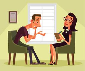 Man having psychologist consultation. Vector flat cartoon illustration