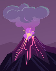 Erupting volcano. Vector flat cartoon illustration