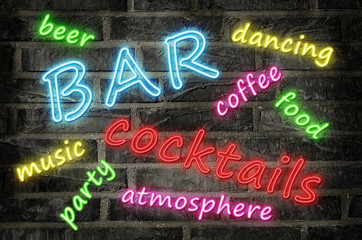 neon sign word cloud illustration with words in different colors describing a cocktail night bar
