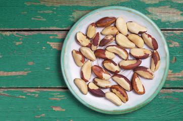 Brazil nuts in plate