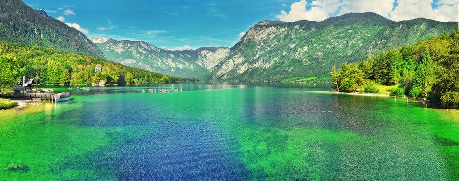 Panoramic view of Slovenian landscape Bohinj Lake,with turquoise water.Triglav National Park, Julian Alps, Slovenia,Europe
