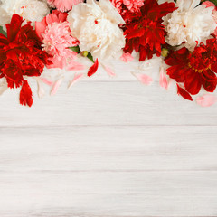 Background with Frame of peony Flowers