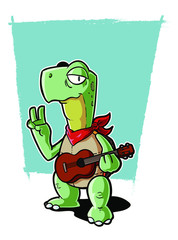 A surfer turtle with a ukulele