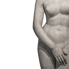 Marble body lines of young naked Roman woman at white background