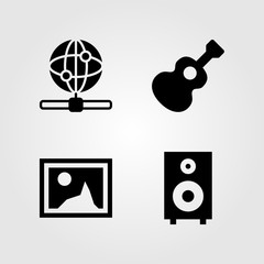 Multimedia icons set. Vector illustration picture, internet, web and guitar