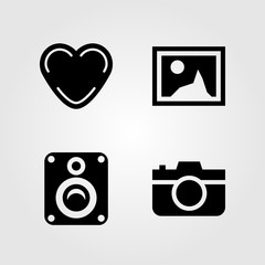 Buttons icons set. Vector illustration photo camera, picture, heart and speaker
