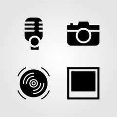 Multimedia icons set. Vector illustration compact disk, photo camera, microphone and photo
