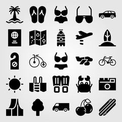 Summertime vector icon set. doorknob, sunglasses, crab and swimsuit
