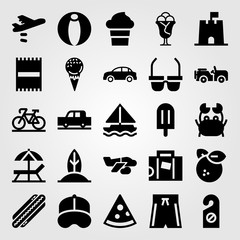 Summertime vector icon set. ice cream, suitcase, airplane and baseball cap