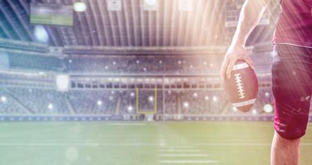 closeup American Football Player isolated on big modern stadium