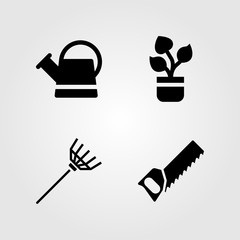 Garden icons set. Vector illustration can, handsaw, watering can and rake