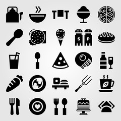 Restaurant vector icon set. ice cream, carrot, soup and tea cup