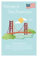 San Francisco poster with Golden Gate Bridge