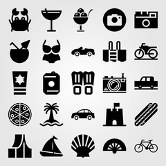 Summertime vector icon set. bicycle, shell, flippers and sand castle