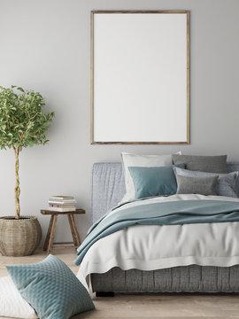 Mock up poster, Bedroom interior concept, Scandinavian design, 3d render, 3d illustration