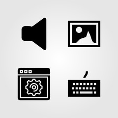 Multimedia icons set. Vector illustration browser, keyboard, picture and mute