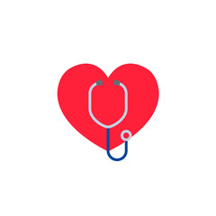 Heart with a stethoscope. Logo for the clinic, pharmaceutical company. Logo of the family doctor, first aid. Health and medical cabinet. Vector Isolated on white background
