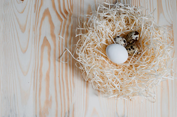 Chicken and quail eggs in a nest of straw on a light background with a tree texture. Image for the Easter celebration with free space for text. Top view.
