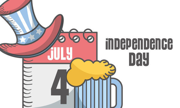 independence day american flag 4 july calendar and hat beer vector illustration