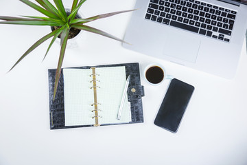 Open diary with pen alongside a potted plant, cup of coffee, open laptop and mobile phone on a white office desk viewed from overhead