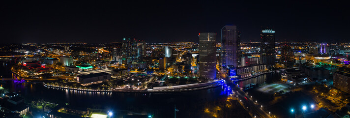 Aerial night panorama Downtown Tampa Florida USA