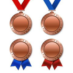 Set of realistic 3d champion realistic 3d bronz trophy award medals for winner.