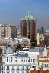 Panoramic view of city of Madrid from Cybele Palace (Palacio de Cibeles), Spain