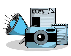 business photo camera news paper speaker and notepad vector illustration