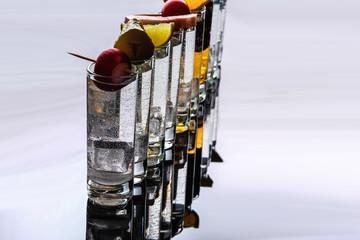 Shots of alcohol close-up.