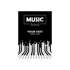 Music festival. Vector poster. White text and black background.