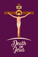 death of jesus crucifixion in the cross vector illustration
